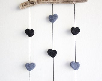 Driftwood Wall Hanging with Felt Hearts -- Gray and Black Hearts -- Rustic Nursery Decoration -- Unique Baby Shower Gift -- Ready to ship