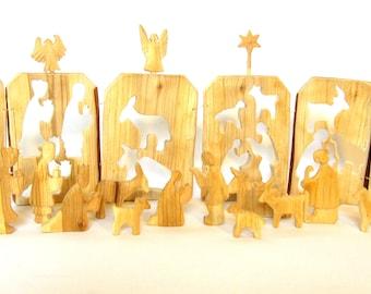wooden nativity wooden creche carved nativity set manger christmas crib - Wooden Nativity Set