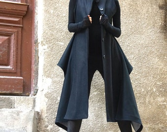 NEW Winter Sleeveless Kasha Cashmere Lined Coat /Asymmetric Extravagant Coat/ Wool/Cashmere Blend/ Buttoned Stylish Coat by AAKASHA A02529