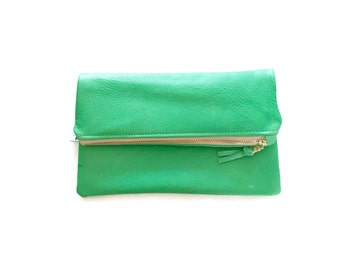 Green Leather Fold Over Clutch, Green Clutch, Foldover Clutch, Fold Over Clutch, Green Leather Clutch, Green Handbag, Clutch Bridesmaid Gift