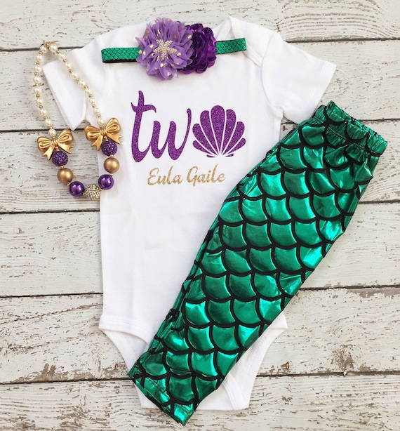 Mermaid Outfit/2nd Birthday/Fish Scale Tights/Little