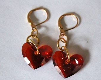 Lovely Red Faceted Crystal Heart Dangle Earrings - Great for Valentine's Day!