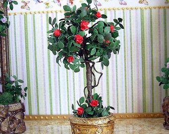 Tree with roses. Realistic plant. Decorative Miniature Tree with roses for your Dollhouse. Tree in a pot. 1:12 Scale