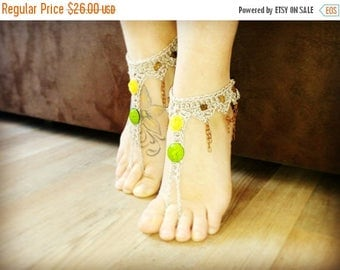 ON SALE Flower boho BAREFOOT sandles barefoot sandals chain beaded barefoot bohemian wedding barefoot Hippie anklet jewelry foot thongs bott