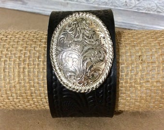 Black Tooled Leather Cuff Bracelet with Silver Concho -Statement Bracelet -Distressed Leather -Boho Cuff -Indie Jewelry -Unisex Leather Cuff