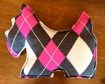 Argyle felted wool Scottish Terrier Accent Pillow Westie  Wool  Scottie dog stuffed accent pillow  felted wool dog pillow Argyle Scottie dog