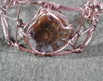 ammonite wire wrapped bangle bracelet, handmade copper ammonite wire wrapped bangle bracelet with ammonite fossil copper bangle gypsy bangel