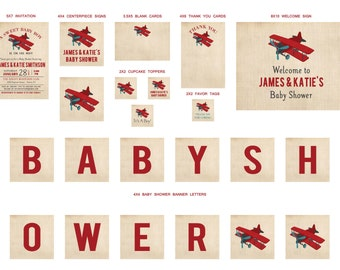Vintage Dark Red and Teal Airplane brown linen Baby Shower Party Packages - includes invitation, toppers, favor tags, cards, signs and more