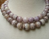 reserved for jennifer vintage 60s botswana agate beads double strand 16 inch choker necklace