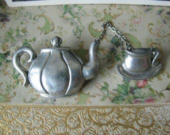 Vintage Seagull Pewter Teapot Teacup brooch Pin Pewter Brooch Pewter Pin Novelty Jewelry Vintage Pewter