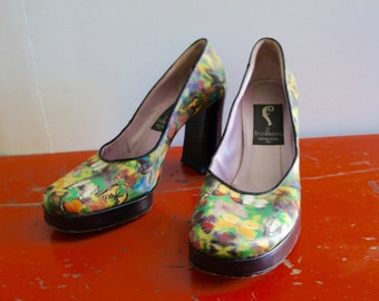 HOLOGRAPHIC BUTTERFLY PLATFORMS 1990's Stacked Leather Platforms, Handmade in Vernice, Italy by Fortuna Valentino