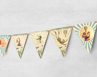 Printable paper banners. Party Decoration. Vintage Circus.