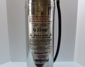 Vintage Pyrene Water Fire Extinguisher Stainless Steel 2-1/2 Gallons Type A 1981