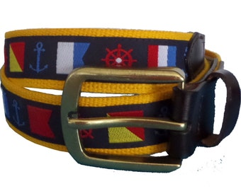 Flags and Sea Nautical Leather Belt / Leather Belt / Nautical Belt / Preppy Webbing Belt Men, Women and Children/Flags and Sea Navy Ribbon