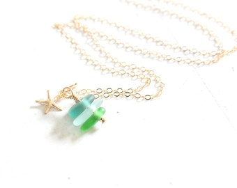 14k Gold Filled Beach Glass Jewelry | Genuine Beach Glass Necklace