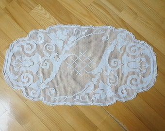 White crochet runner Coaster mat pad table placemat doily folk style flower lily tulip openwork long granny square small table cottton rose
