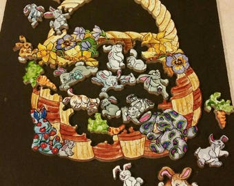 Basket of Bunnie's - a 100 pieces - a Bamboozle Wooden Jigsaw Puzzle from BCB Puzzles