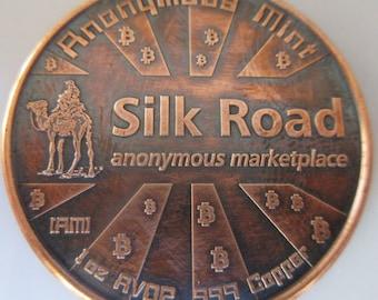 Bitcon - Silk Road 1 oz .999 Pure Copper Challenge Coin with Black Patina