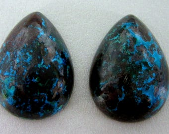 Shattuckite Matched Pair Teardrop Cabochons - for jewelry making