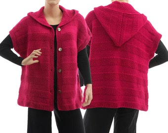Hand knitted hooded sweater wrap alpaca mix in dark pink, oversized knitted sweater in magenta for medium to plus sizes M-L, US size 12-16