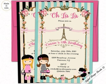 Oh la la invitation etsy oh la la birthday invitationparis birthday partypersonalized birthday party invitationseiffel stopboris Gallery