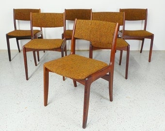 set of 6 mid century Danish modern Skovby rosewood and tweed dining chairs