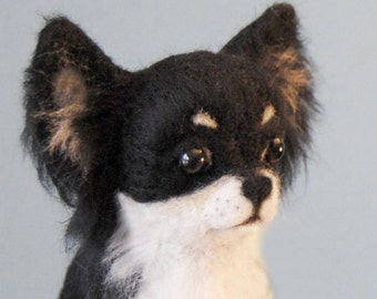 Needle Felted Longhaired Chihuahua, Custom Made Dog Portrait, Handmade Animal, Chihuahua or any other breed - made to order