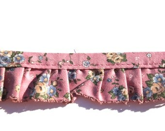 """Vintage Pink Ruffled Cotton Trim with Small Print Blue and Yellow Flowers, Floral Gathered NOS Trim, 3 yards x 1 1/2""""W"""