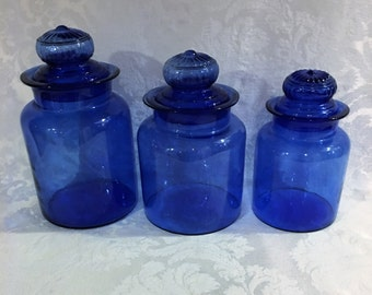 Cobalt Blue Kitchen Canisters, Hand Blown, German Canisters