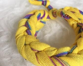 Yellow Bracelet, Jersey Knit Bracelet, Muliticolored Bracelet, Yellow Jewelry, Yellow Fabric Jewelry, Yellow Jersey Bracelet, Fabric Jewelry