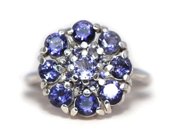 Iolite anniversary ring - cluster style- silver and pearls - size 6