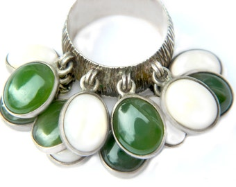 LAYAWAY FOR LINDA Celia Harms Ring Mexico Silver Green White Chrysoprase And Quartz Rare Elite 12 Charm Dangle Sterling **Do Not Purchase **