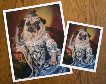 Pug Royalty - Marie Antoinette Print - L