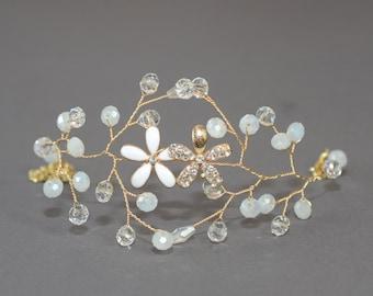 Gold Bridal Bracelet Crystal Wedding Bracelet Statement Bracelet Bridal Jewelry Flower Crystal Bracelet Wedding Cuff Bangle wedding jewelry