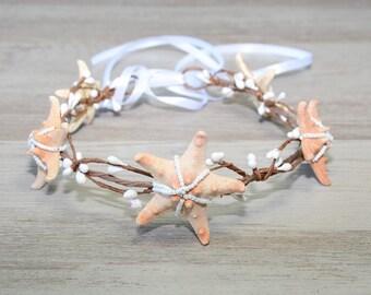 Beach Wedding Starfish crown Mermaid crown hair accessories Bridal headband Bridal headpiece Starfish headband boho Destination wedding boho