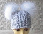Knitted chemo hat for women knit hats with pom pom Double pom pom beanie hat, womens pom pom beanie
