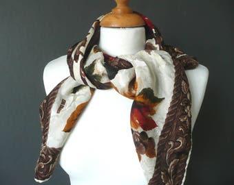 Vintage silk scarf - Bill Blass silk scarf - silk moire scarf - silk bird print scarf - floral silk scarf - brown and gold silk scarf