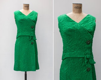 1960s Dress - Vintage 60s Kelly Green Shift Evening Dress - Unwrapped Gift Dress