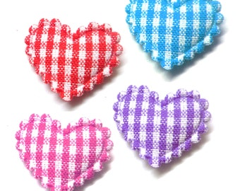"100pcs x 3/4"" Assorted Gingham Cotton Heart Padded/Appliques"