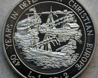 1993 Malta, 1 Lira/2Ecu, Gorgeous Ship Coin, Cluster of ships, 430 years in defence of Christian Europe