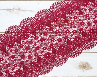 "7"" Ruby Wine Crochet Look Double Scallop Galloon Stretch Lace By The Yard"