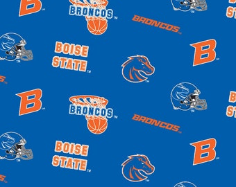 Licensed NCAA Boise State Broncos All Over Fleece Fabric 60'' Wide Sold By The Yard
