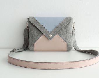 Light Gray Pink Blue Wool Felt Genuine Leather Messenger Crossbody Bag