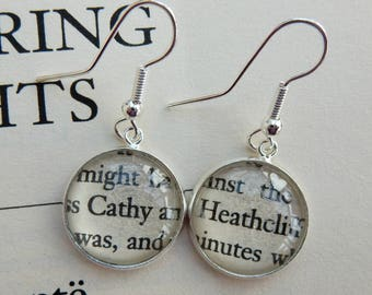 Literary gift, Wuthering Heights earrings, Cathy Heathcliff, book lover, book jewellery, upcycled books, readers gift, book club,