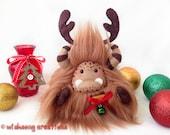 "Christmas reindeer plush yeti artist bear,  Special Edition chocolate brown monster plush, fantasy creature, Christmas decor, ""Jinglebell"""