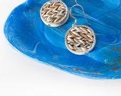 Woven Earrings Grey Cream Texture Earrings, Rustic Knit Inspired Jewelry Blue Trinket Tray Home Decor