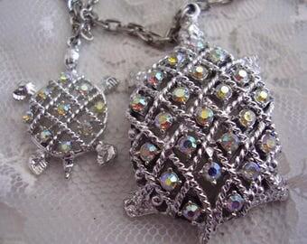 Vintage Double Strand RHINESTONE TURTLE Necklace