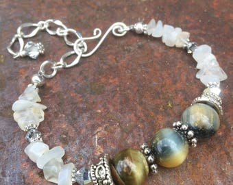 Hawks Eye (Blue Tiger Iron), Moonstone Bracelet