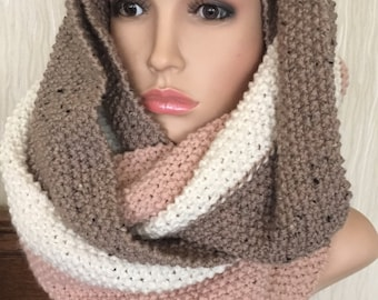 Unique hand knitted/crochet scarf,irish Aran Celtic handmade soft scarf in moss stitch oversized cowl hippy bulky chunky winter womens teens