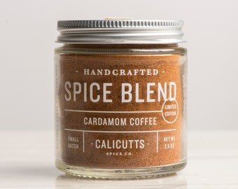 Cardamom Coffee - Handcrafted Spice Blend - 2.5 ounces in Glass Jar, All-Natural and Gluten Free